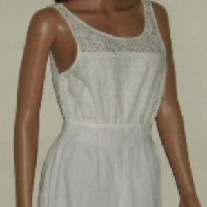 Summer Dress L White Eyelet & Cotton Gauze Lined